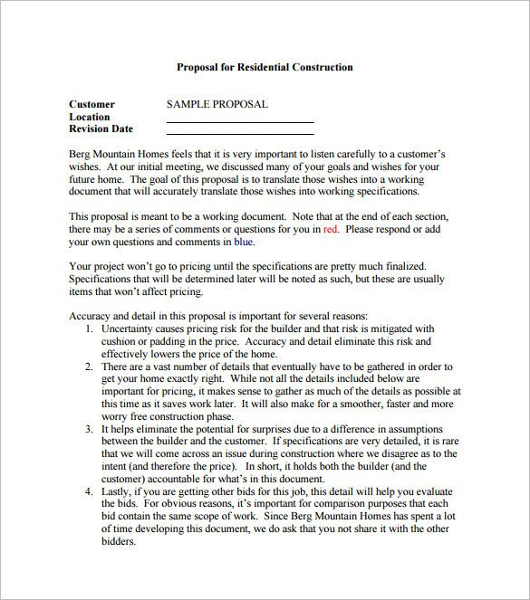 Construction Job Proposal Template 17 Construction Proposal Templates Word Pdf Excel