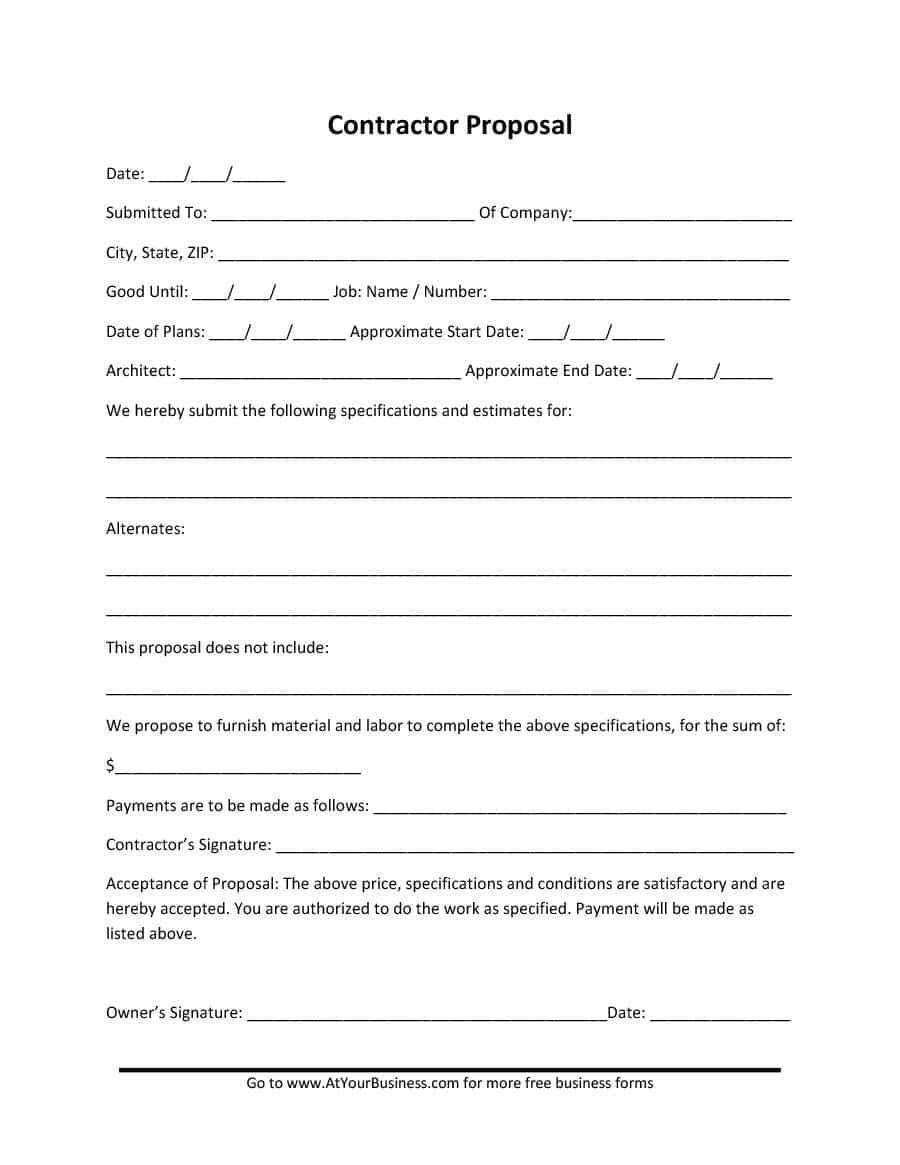 Construction Job Proposal Template 31 Construction Proposal Template & Construction Bid forms
