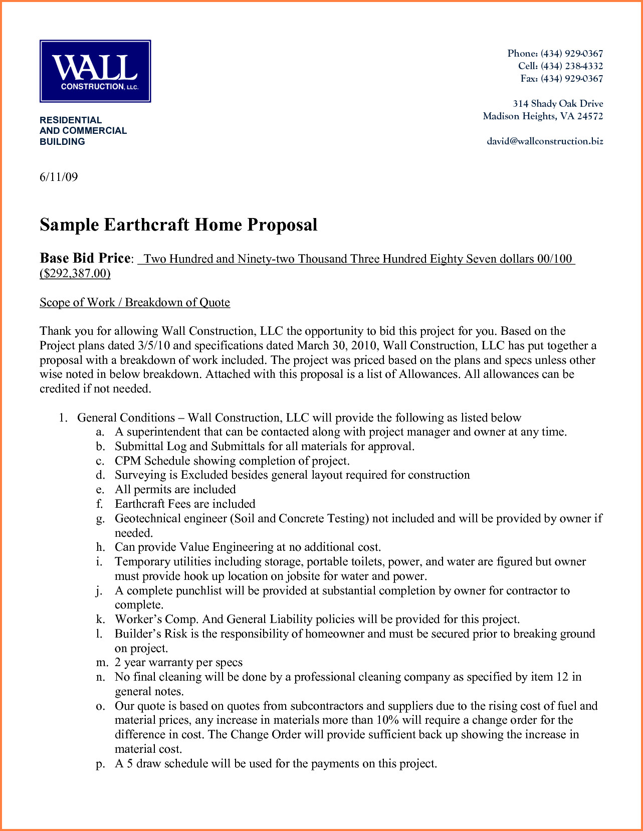 Construction Job Proposal Template 6 Construction Proposal format