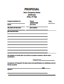 Construction Job Proposal Template Bid Proposal Template Download Edit Fill Create and