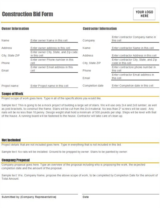 Construction Job Proposal Template Construction Bid form
