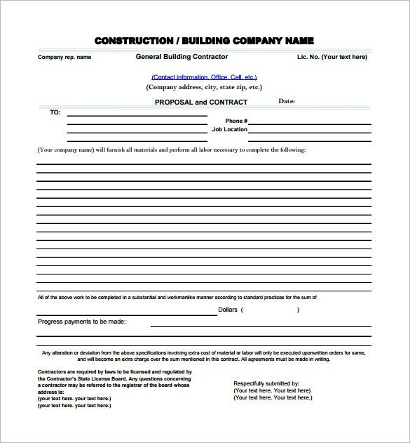 Construction Job Proposal Template Construction Proposal Template