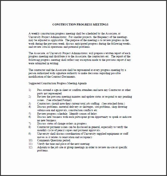 Construction Meeting Minutes Template Excel 11 Construction Project Outline Template