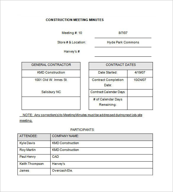 Construction Meeting Minutes Template Excel 14 Project Meeting Minutes Template Google Docs Word