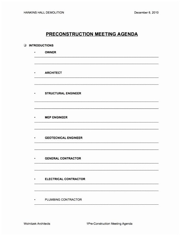 Construction Meeting Minutes Template Excel 5 Pre Construction Meeting Agenda Template Eiyye