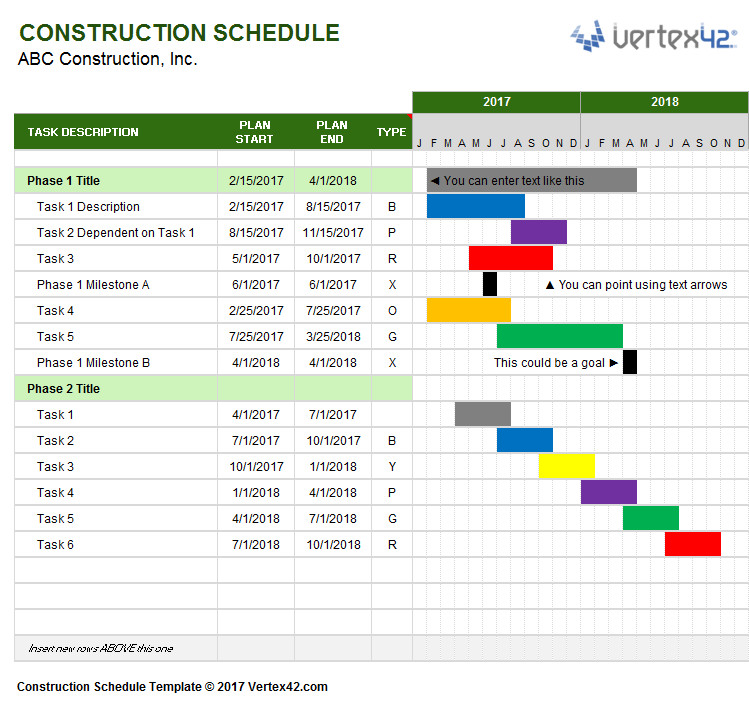 Construction Project Schedule Example Construction Schedule Template