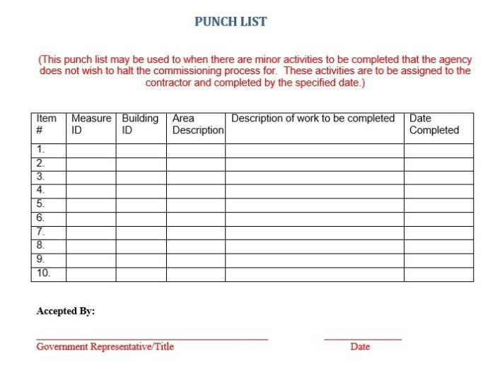 Construction Punch List Template 16 Free Construction Punch List Templates Ms Fice