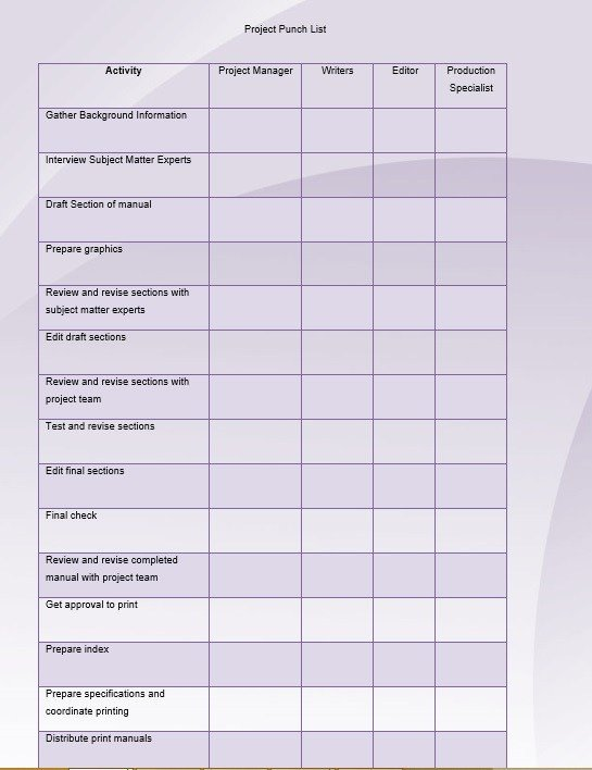 Construction Punch List Template 7 Free Sample Construction Punch List Templates