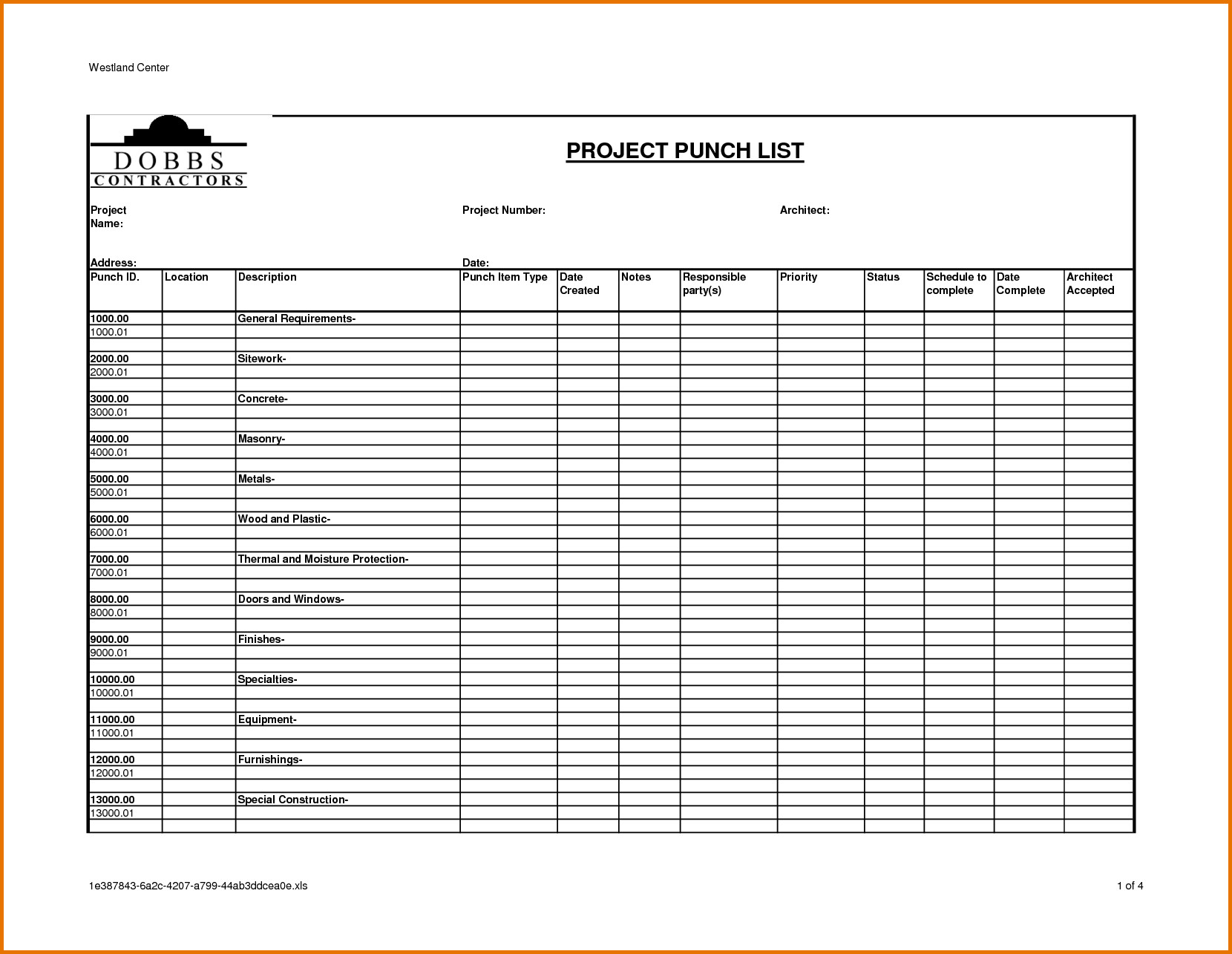 Construction Punch List Template Construction Punch List Template – Emmamcintyrephotography