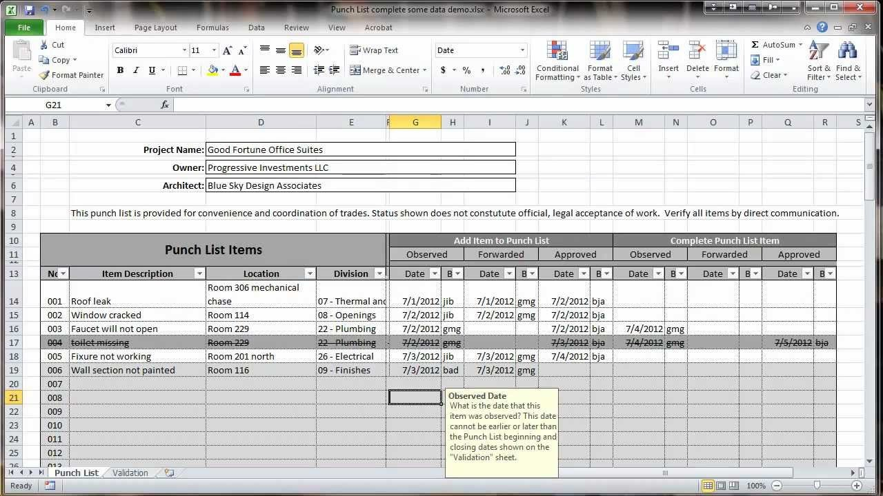 Construction Punch List Template Excel 2010 Construction Punch List Overview