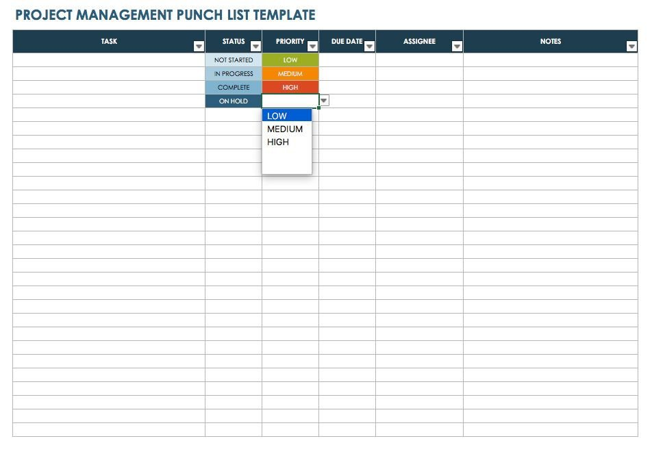 Construction Punch List Template Free Punch List Templates