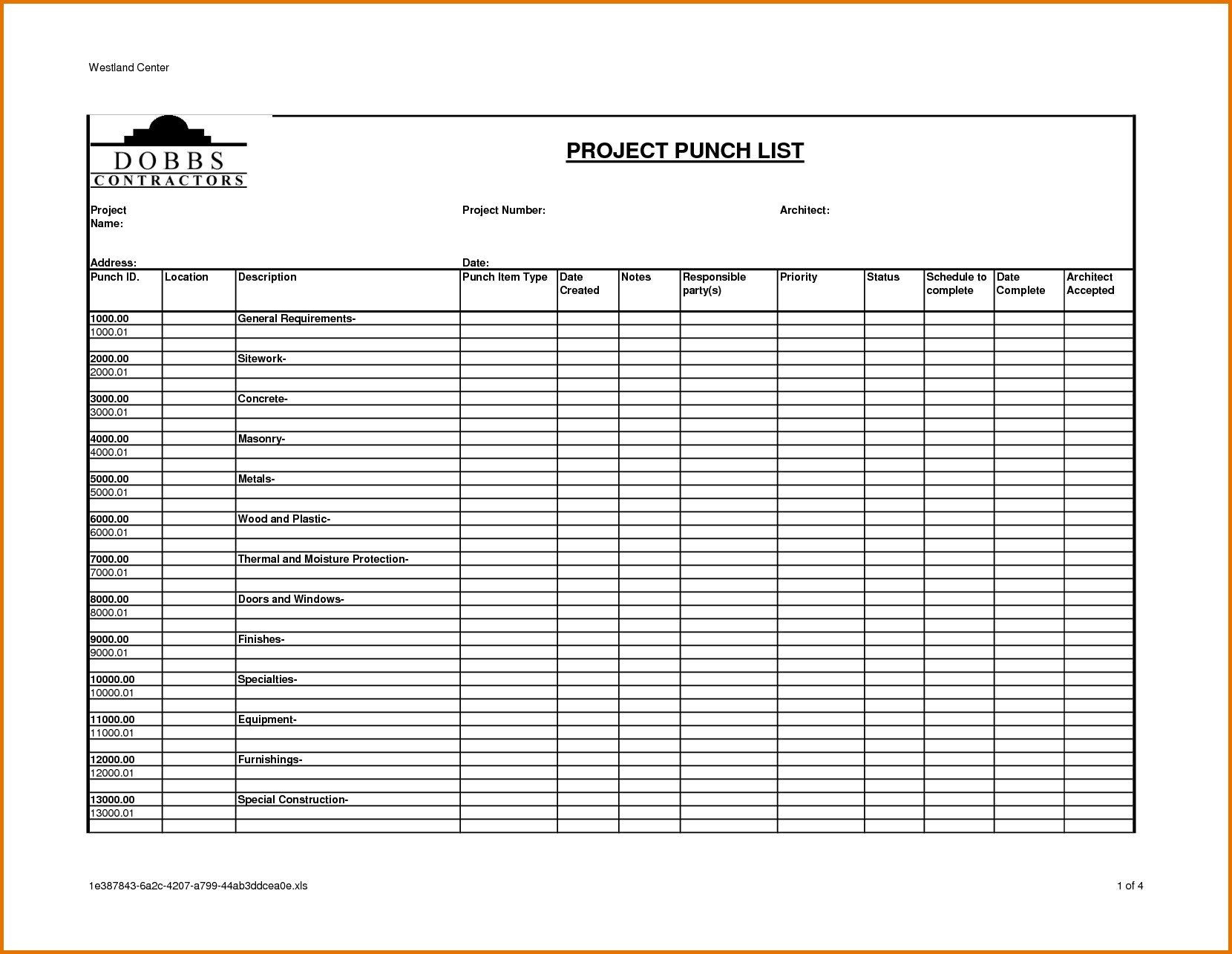 Construction Punch List Template Punch List Template