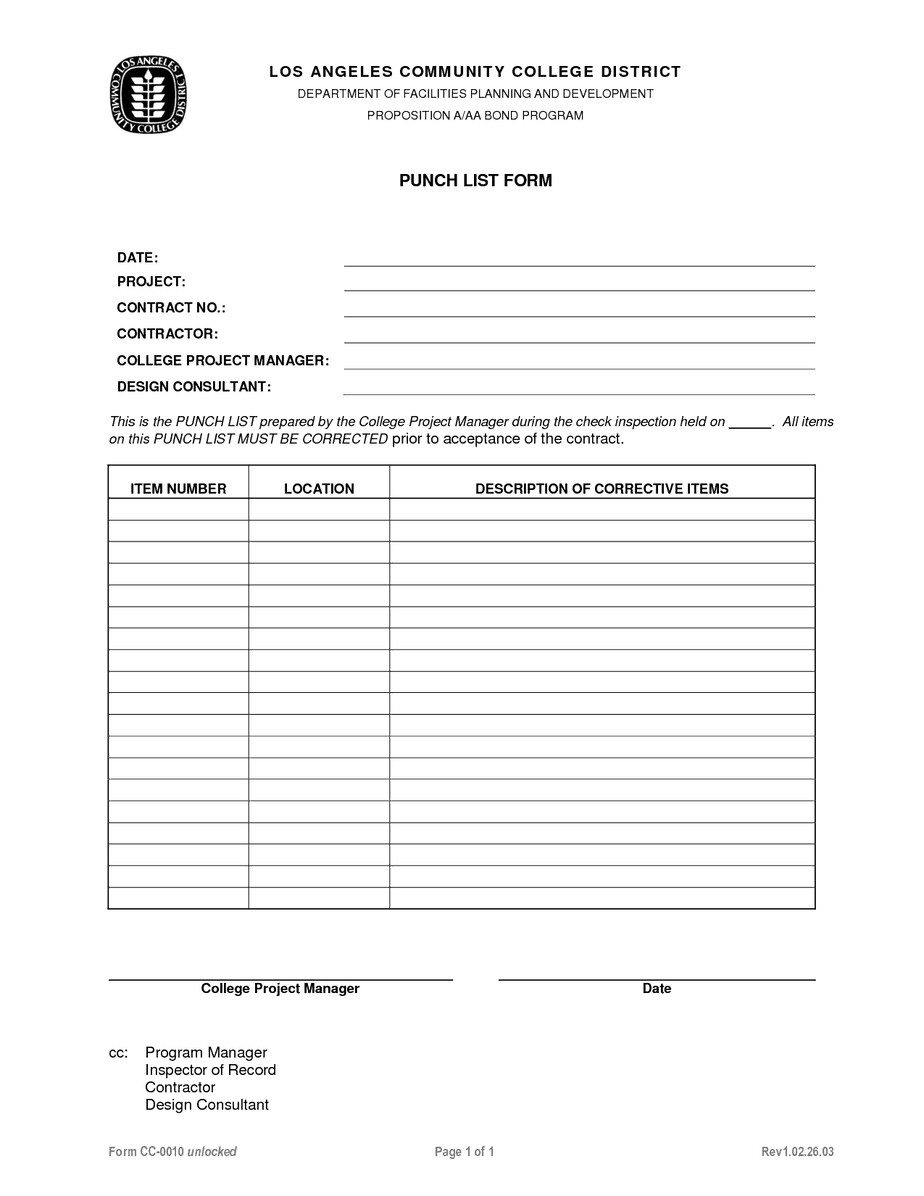 Construction Punch List Template Punch List Template Word Excel Pdf formats