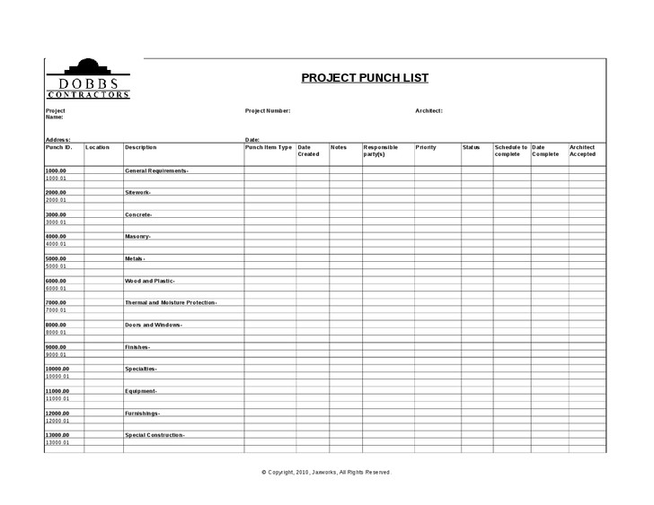 Construction Punch List Template Sample Construction Punch List Template Word Trainingable