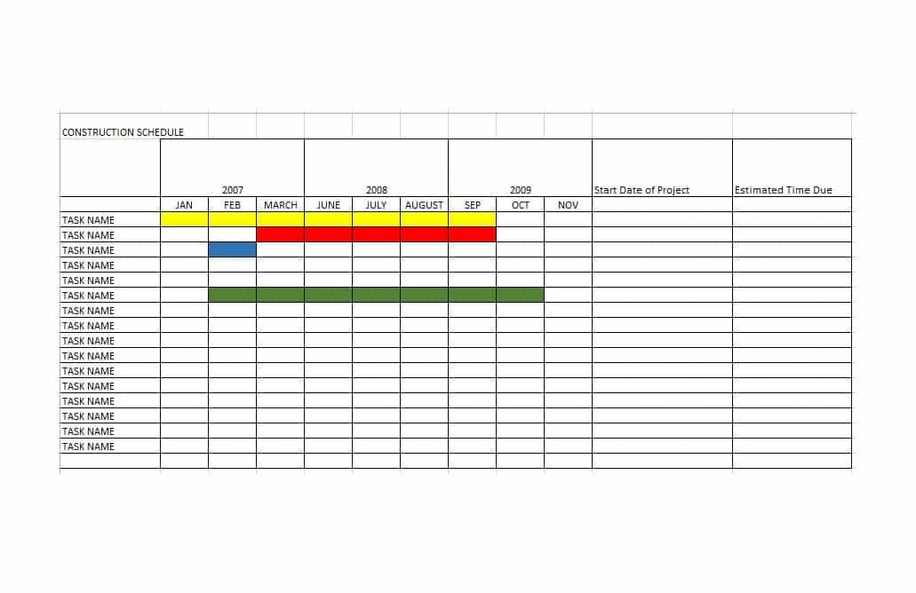 Construction Schedule Template Excel 21 Construction Schedule Templates In Word & Excel