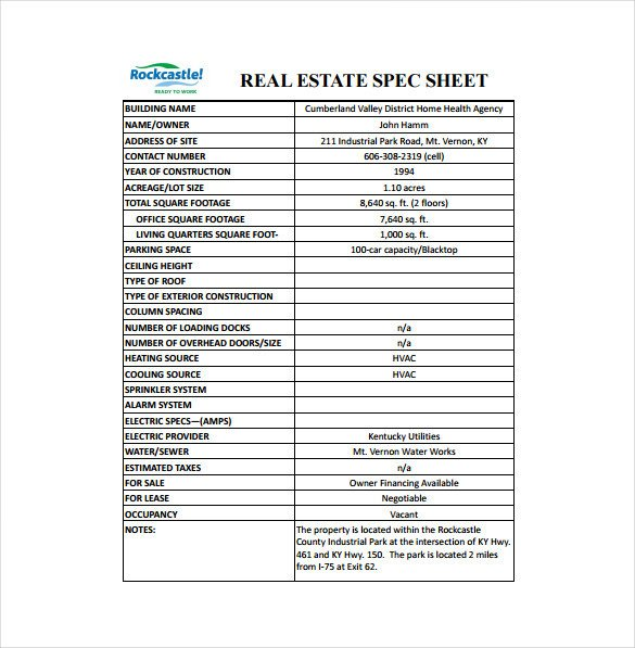 Construction Spec Sheet Template 17 Specification Sheet Templates