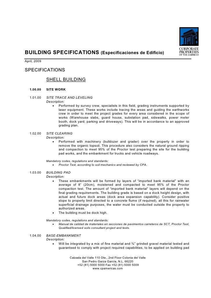 Construction Spec Sheet Template Bts Construction Building Specs Template Tipo