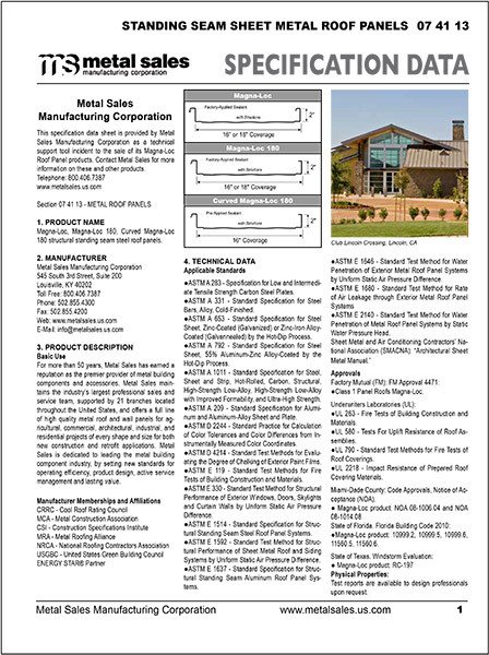 Construction Spec Sheet Template Metal Sales Products for the Metal Building Industry