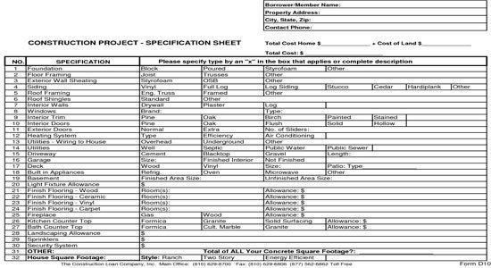 Construction Spec Sheet Template New Home Construction Bid Sheet