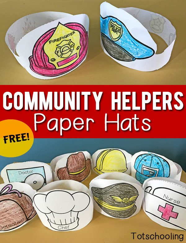 Construction Worker Hat Craft Munity Helpers Printable Paper Hats