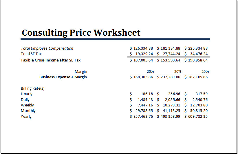 Consultant Fee Schedule Template Ms Excel Consulting Price Worksheet Template