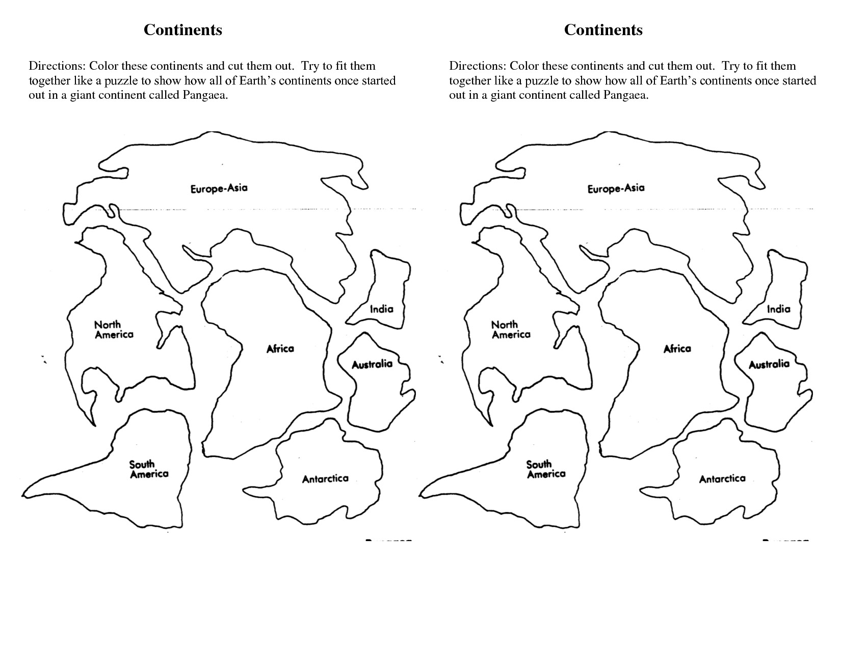 Continent Cutouts for Globe 7 Continents Cut Outs Printables