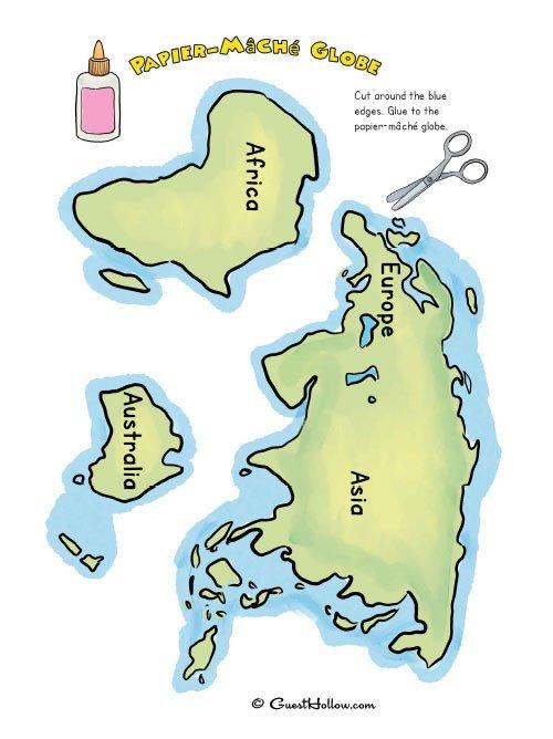 Continent Cutouts for Globe Cut Out 7 Continents and Papier Mâché Paper Mache Globe