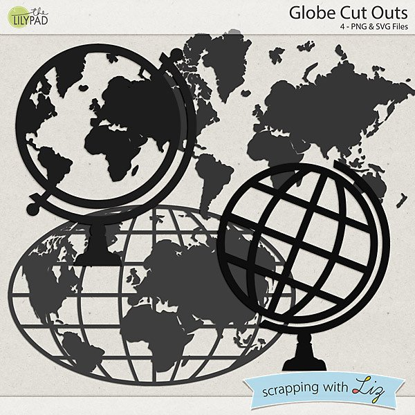 Continent Cutouts for Globe Digital Scrapbook Template Globe Cut Outs
