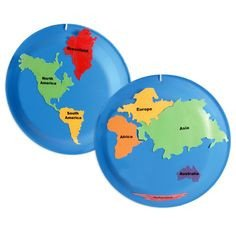 Continent Cutouts for Globe Map Of 7 Continents and 5 Oceans