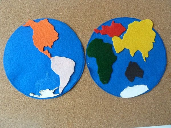 Continent Cutouts for Globe Pattern for Tracing Continent Shapes with Each Continent