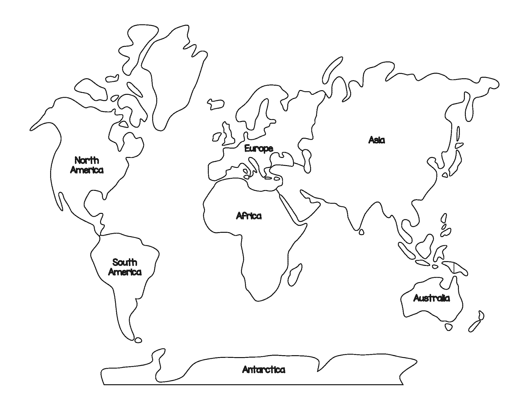 Continent Templates for Globe Blank Continents Map Dr Odd
