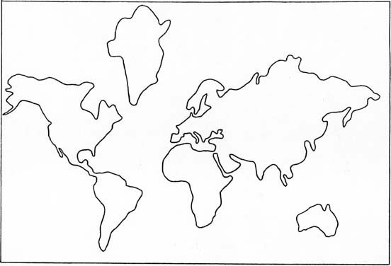 Continent Templates for Globe Continents Cut Outs