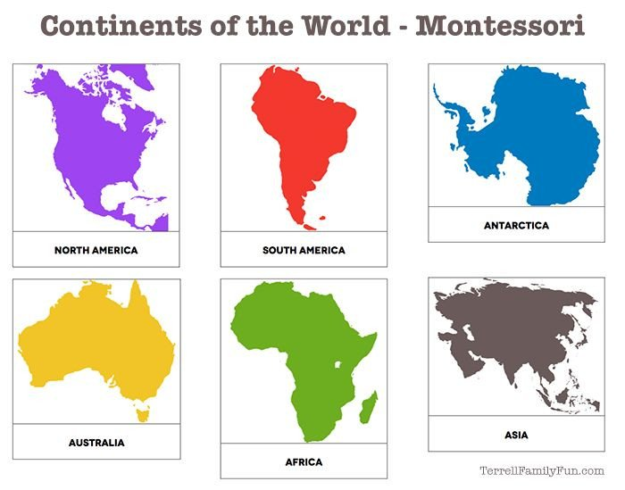 Continent Templates for Globe Continents Of the World Montessori Printable
