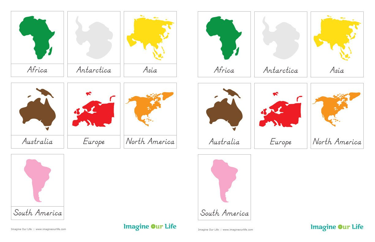 Continent Templates for Globe Montessori Continents Map & Quietbook with 3 Part Cards