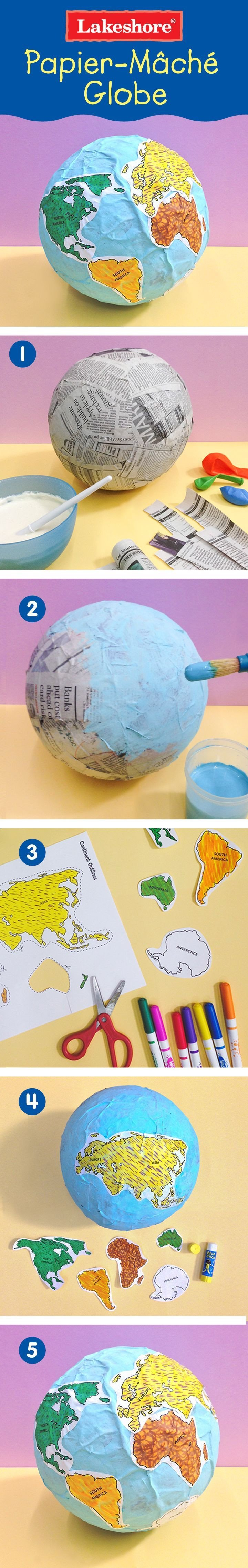Continent Templates for Globe Paper Mache Globe Project with Printable Continent