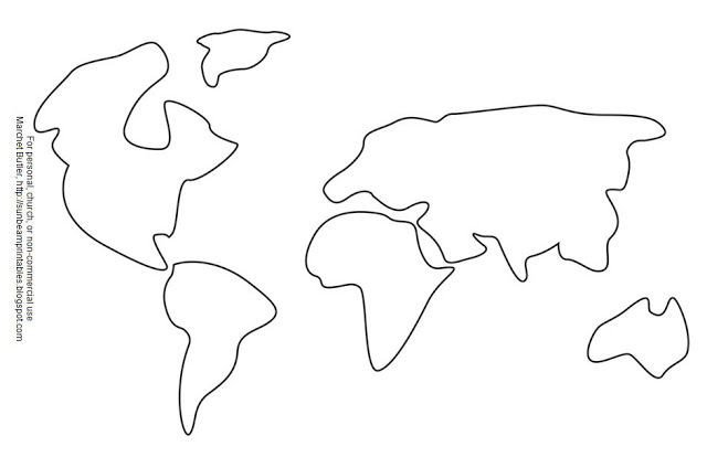 Continent Templates for Globe Sunbeam Printables Craft Page for Lesson 3 Heavenly