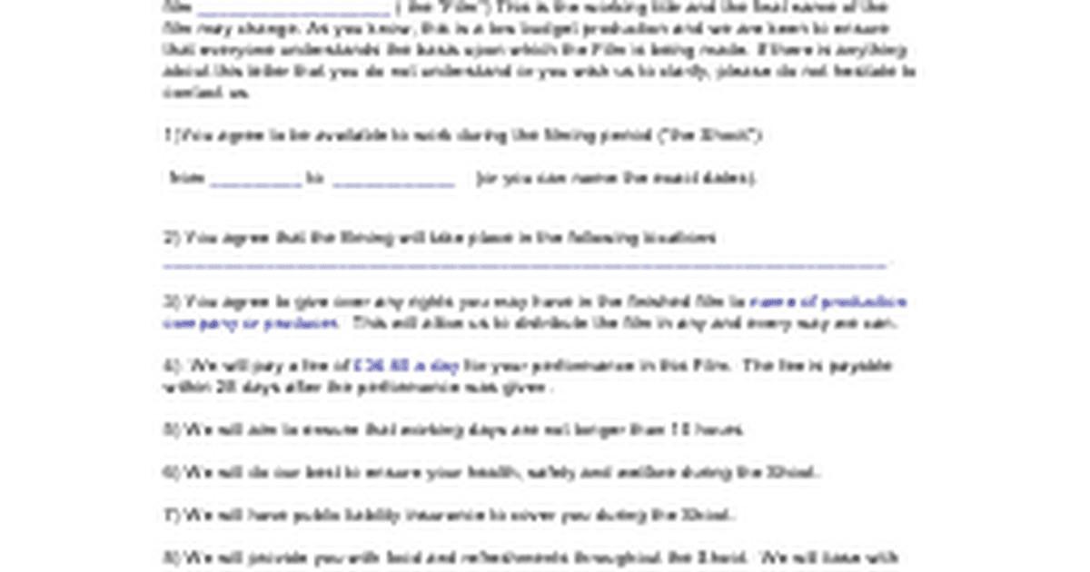 Contract Template Google Docs Actors Contract Templatec Google Docs