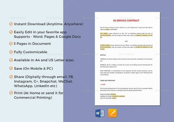 Contract Template Google Docs Sample Service Contract 20 Examples In Pdf Word