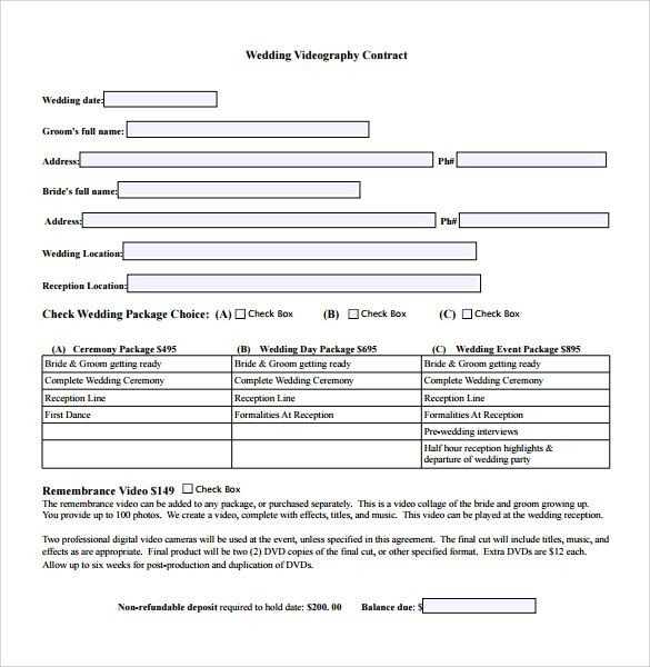 Contract Template Google Docs Videography Contract Template Free