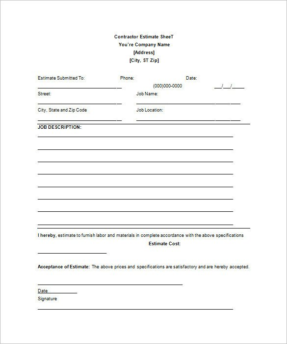 Contractor Bid Sheet Template 26 Blank Estimate Templates Pdf Doc Excel Odt