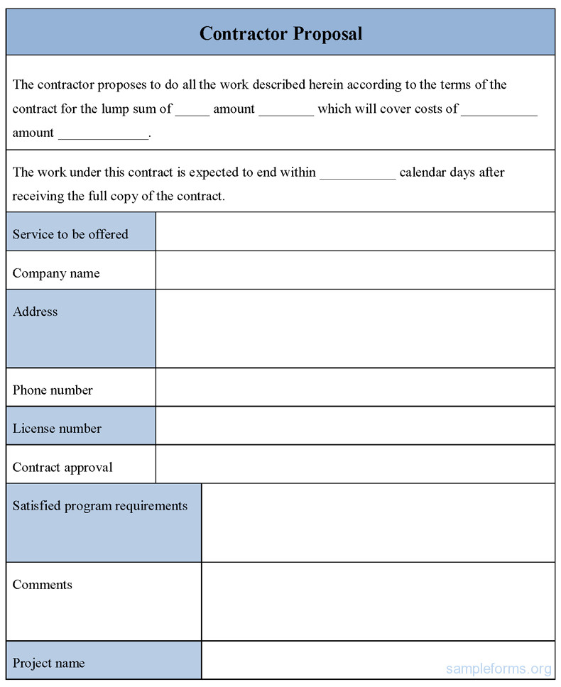 Contractor Bid Sheet Template Contractor Proposal form Sample forms