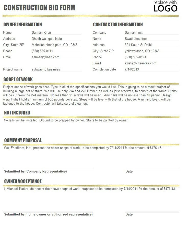 Contractor Bid Sheet Template Free Construction Time and Material forms