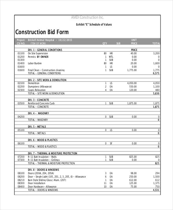 Contractor Bid Sheet Template Sample Construction form 21 Free Documents In Word Pdf