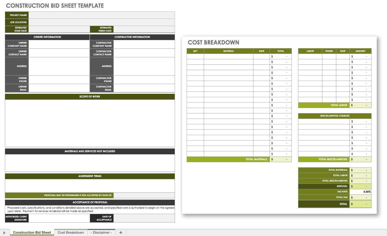 Contractor Bid Sheet Template the Master Guide to Construction Bidding
