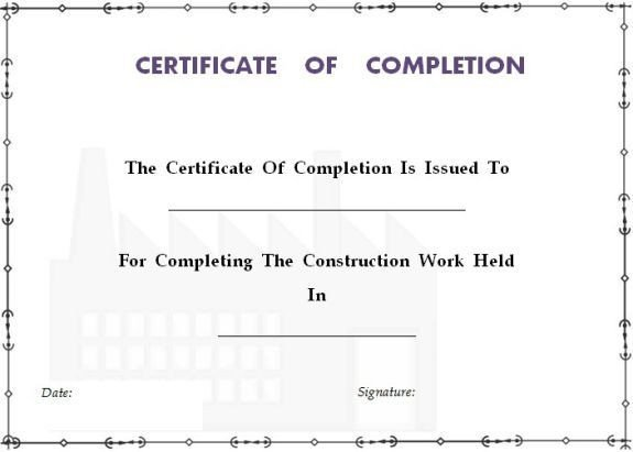 Contractor Certificate Of Completion Templates 25 Best Ideas About Certificate Of Pletion Template On