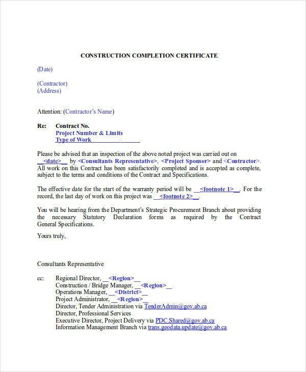 Contractor Certificate Of Completion Templates 27 Pletion Certificate Examples Psd Pdf Word