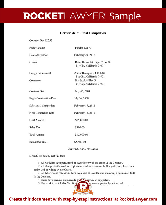 Contractor Certificate Of Completion Templates Certificate Of Final Pletion form for Construction