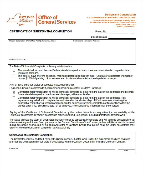 Contractor Certificate Of Completion Templates Certificate Of Pletion 25 Free Word Pdf Psd