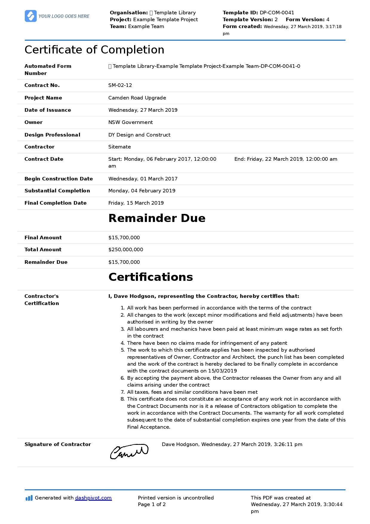 Contractor Certificate Of Completion Templates Certificate Of Pletion for Construction Free Template