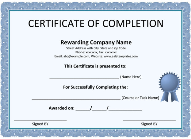 Contractor Certificate Of Completion Templates Certificate Of Pletion Template 5 Printable formats